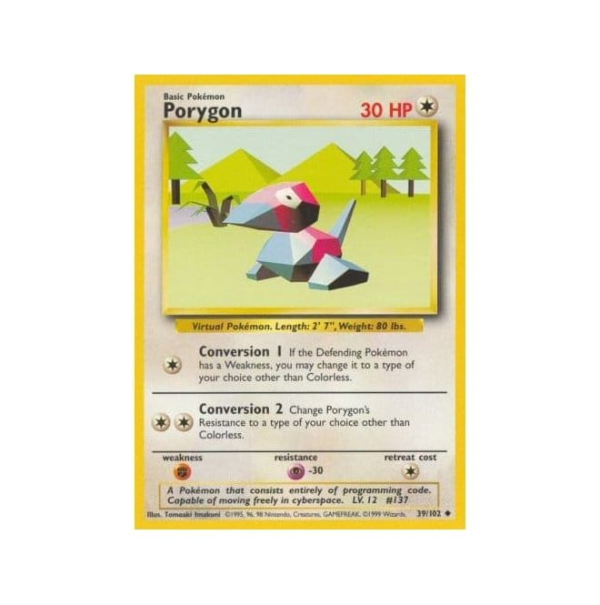Pokemon Base Set 039/102 Porygon