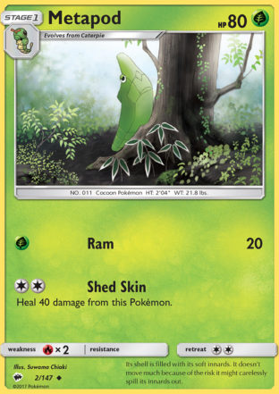 Pokemon Single Card SUN AND MOON – BURNING SHADOWS – 002/147 : Metapod