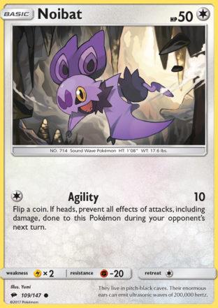 Pokemon Single Card SUN AND MOON – BURNING SHADOWS – 109/147 : Noibat